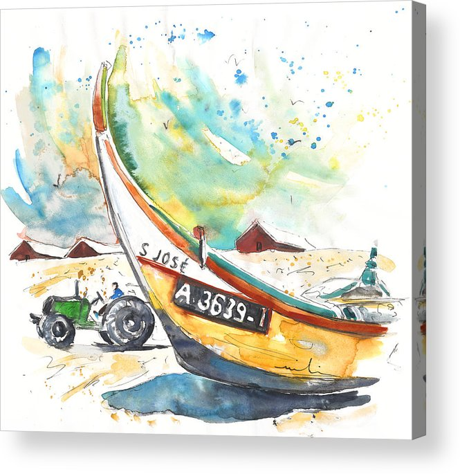 Portugal Acrylic Print featuring the painting Fisherboat in Praia de Mira by Miki De Goodaboom