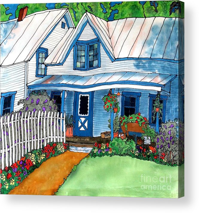 Church Acrylic Print featuring the painting House Fence and Flowers by Linda Marcille