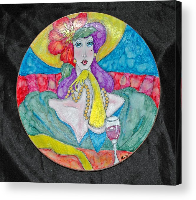 Brightly Painted Woman Waiting For Her Date Acrylic Print featuring the mixed media Lady in Waiting by Mickie Boothroyd