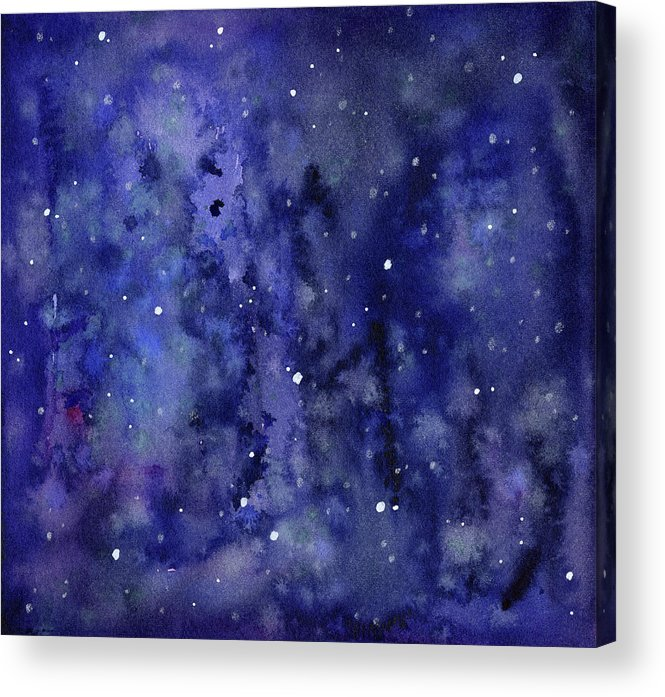 Galaxy Acrylic Print featuring the painting Night Sky Watercolor Galaxy Stars by Olga Shvartsur
