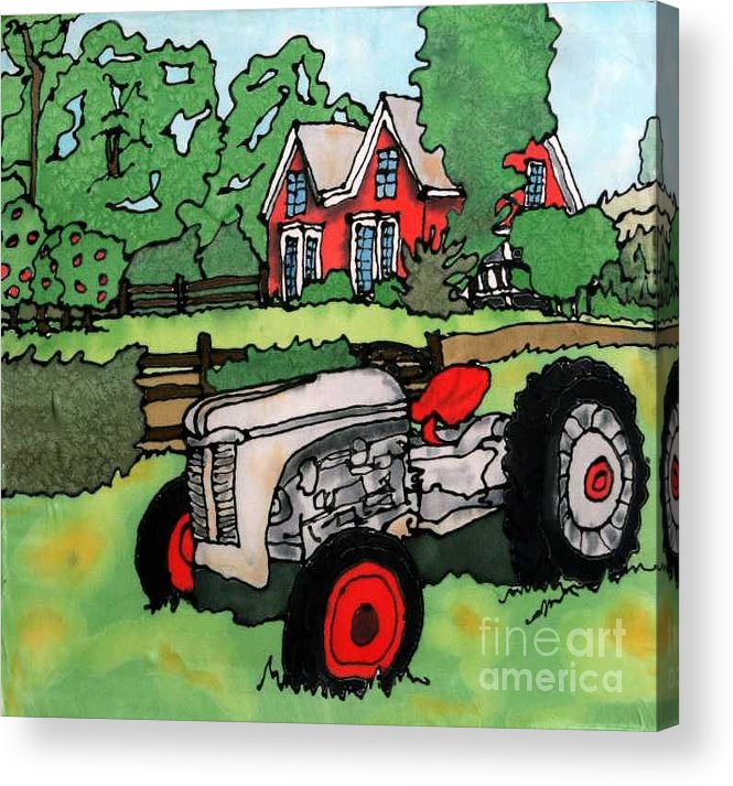 Silk Acrylic Print featuring the painting Red House and Tractor by Linda Marcille