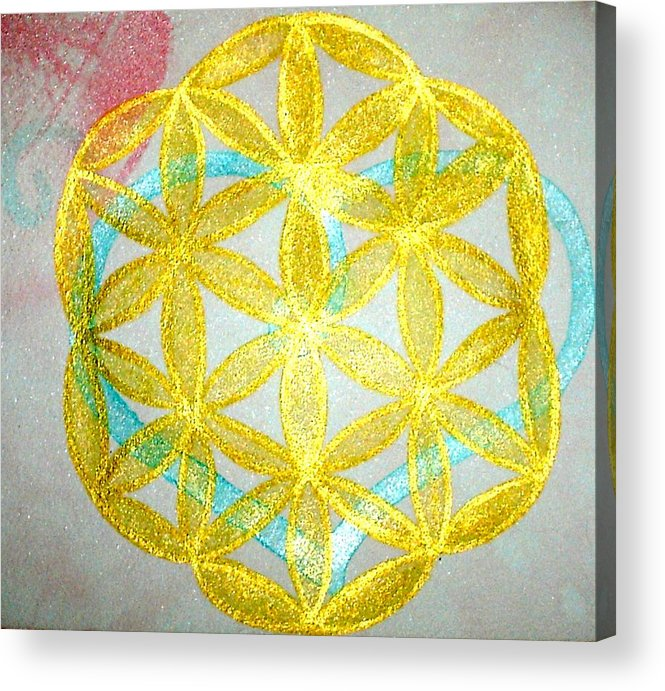 Sacred Geometry Acrylic Print featuring the painting Seed of Life by Chandelle Hazen
