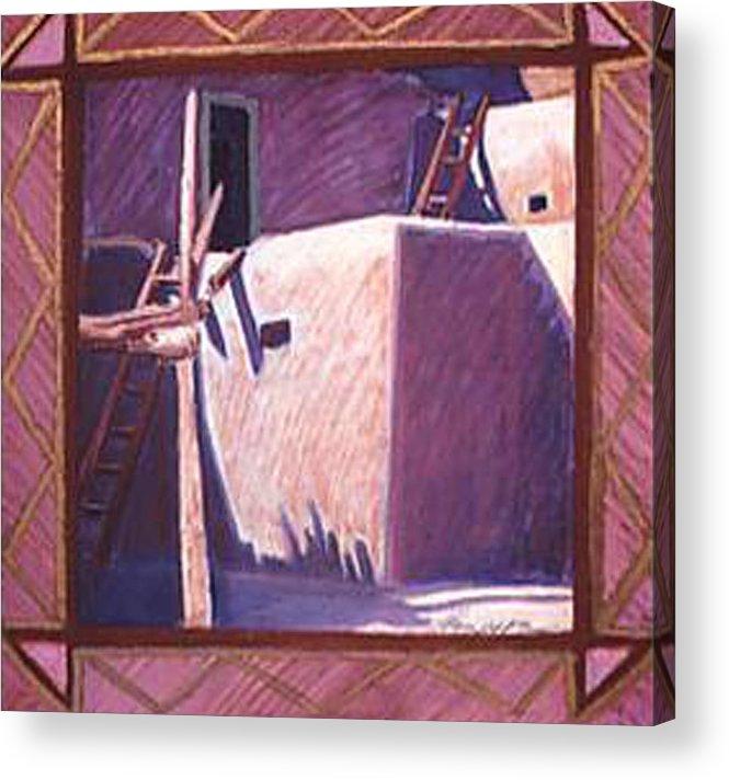 Pueblo Art Acrylic Print featuring the pastel Taos Corner by Jo Thompson