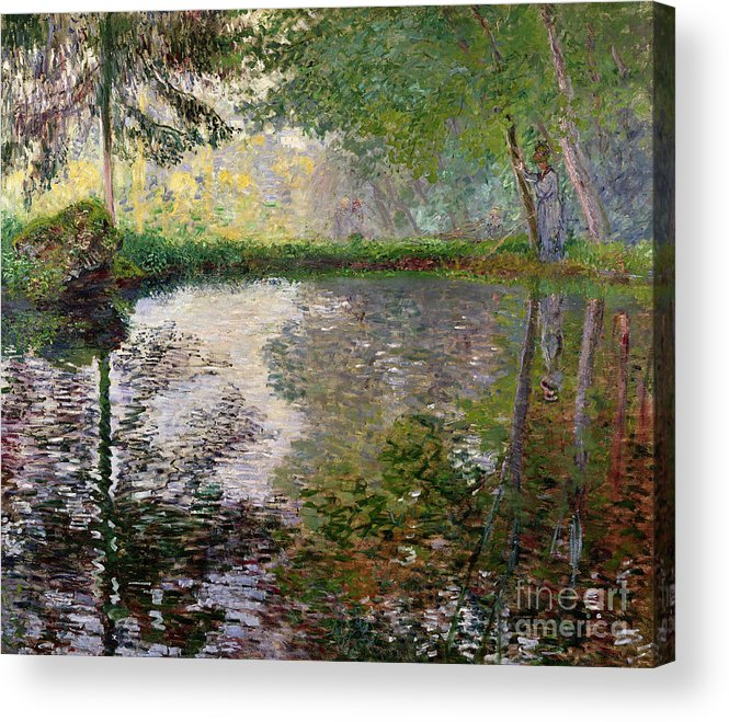 The Lake At Montgeron By Claude Monet (1840-1926) Acrylic Print featuring the painting The Lake at Montgeron by Claude Monet