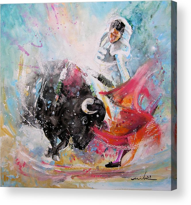 Animals Acrylic Print featuring the painting Toro Tempest by Miki De Goodaboom