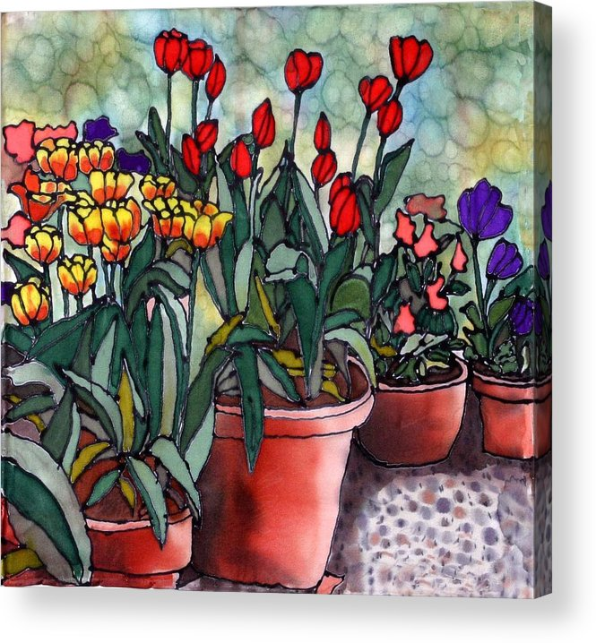 Silk Acrylic Print featuring the painting Tulips In Clay Pots by Linda Marcille