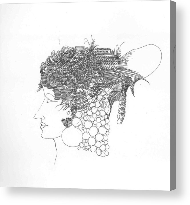 Women Acrylic Print featuring the drawing Woman with headgear by Padamvir Singh
