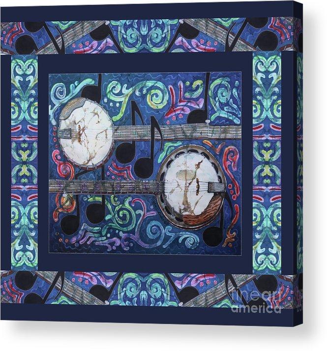 Banjos Acrylic Print featuring the painting Banjos Bordered by Sue Duda