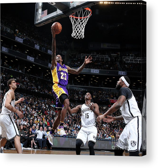 Nba Pro Basketball Acrylic Print featuring the photograph Los Angeles Lakers V Brooklyn Nets by Nathaniel S. Butler
