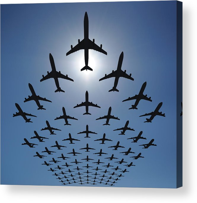 Expertise Acrylic Print featuring the photograph Airplane Silhouettes Fly In V Formation by Georgo