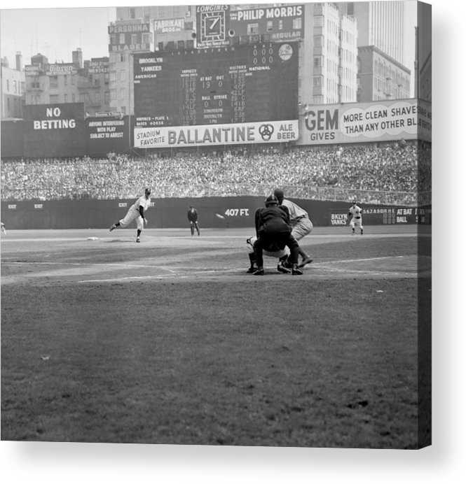 American League Baseball Acrylic Print featuring the photograph Allie Reynolds Of The Yankees At The by New York Daily News Archive