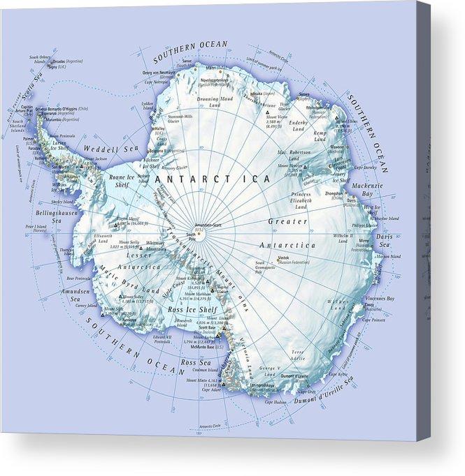 Latitude Acrylic Print featuring the digital art Digital Illustration Of Antarctica by Dorling Kindersley