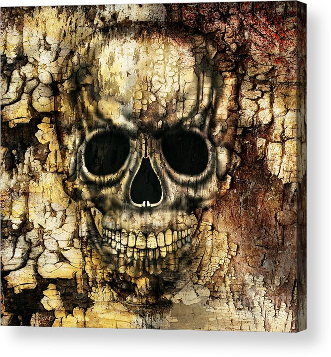 Strong Acrylic Print featuring the digital art Gothic Image Of A Human Skull by Valentina Photos