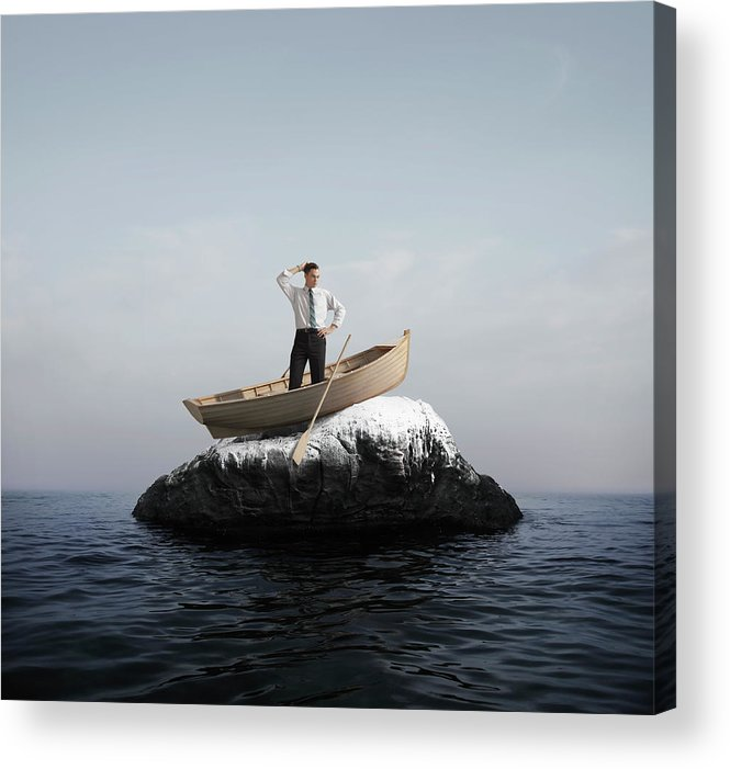 Problems Acrylic Print featuring the photograph Man In Boat Stuck On A Rock by Stephen Swintek