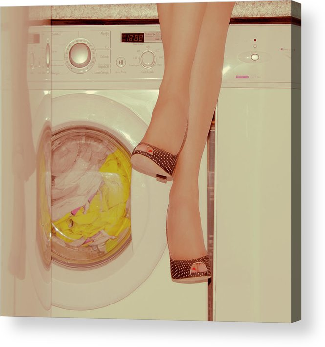 Laundromat Acrylic Print featuring the photograph Vintage Laundry by © Angie Ravelo Photography