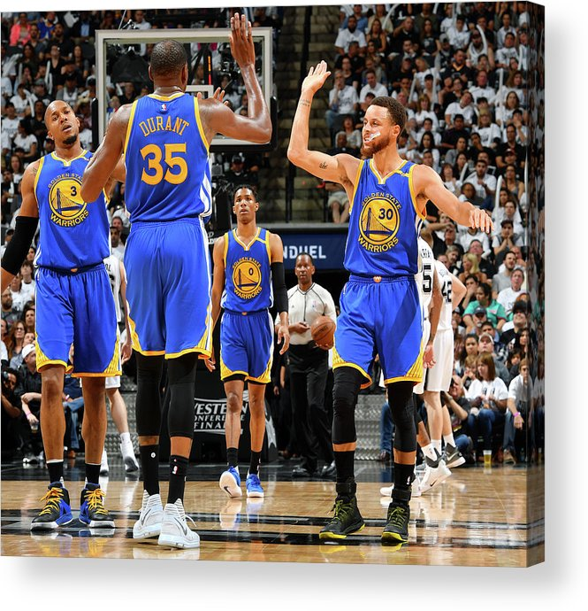 Playoffs Acrylic Print featuring the photograph Stephen Curry and Kevin Durant by Jesse D. Garrabrant