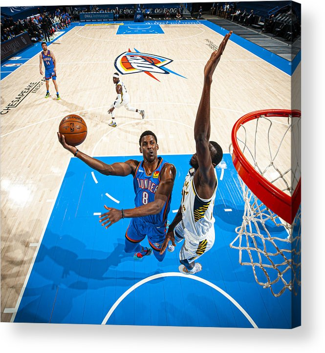 Nba Pro Basketball Acrylic Print featuring the photograph Indiana Pacers v Oklahoma City Thunder by Zach Beeker