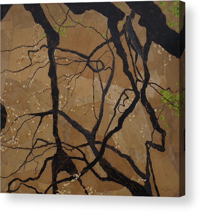 Abstract Tree Branches Acrylic Print featuring the painting Arboretum Dancers by Leah Tomaino