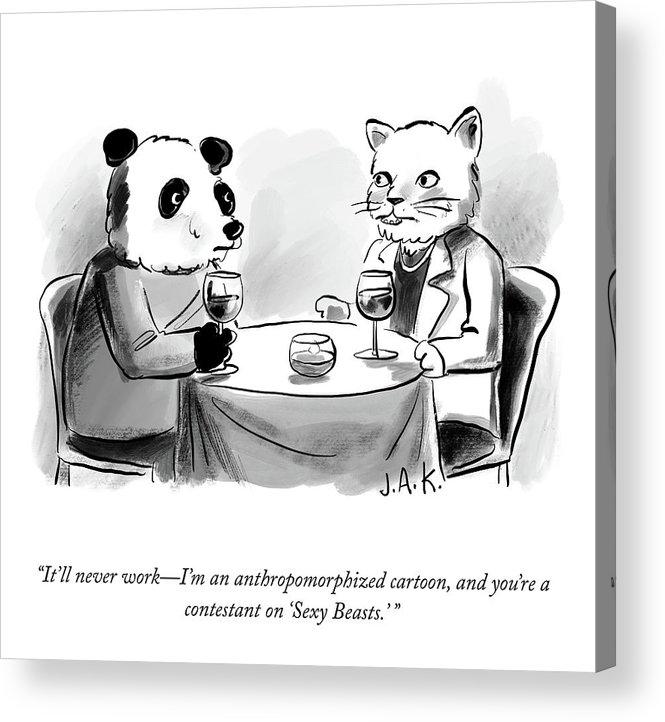 """it'll Never Work—i'm An Anthropomorphized Cartoon Acrylic Print featuring the drawing It'll Never Work by Jason Adam Katzenstein"