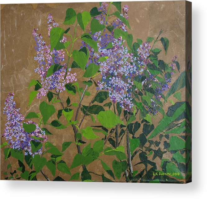 Lilacs Acrylic Print featuring the painting April Lilacs by Leah Tomaino