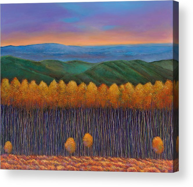 Autumn Aspen Acrylic Print featuring the painting Aspen Perspective by Johnathan Harris