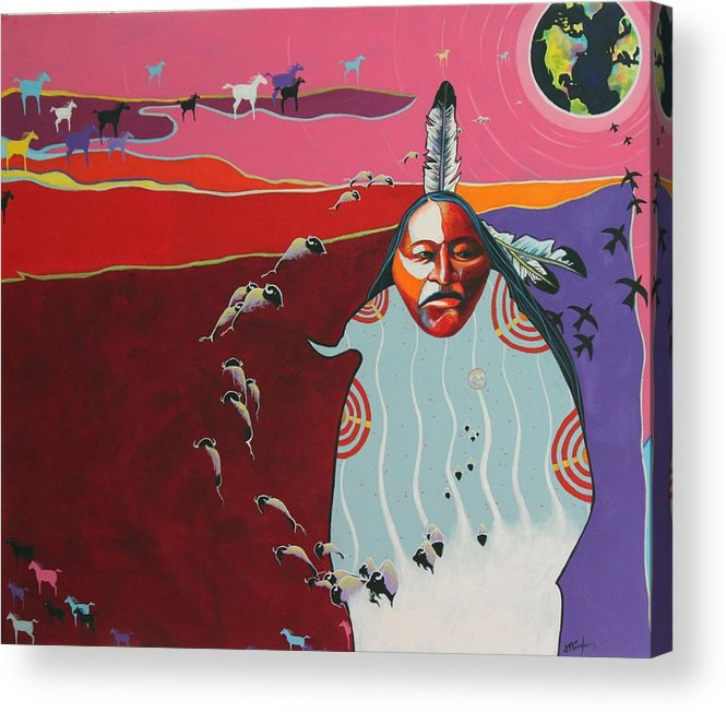 Native American Acrylic Print featuring the painting Creation by Joe Triano
