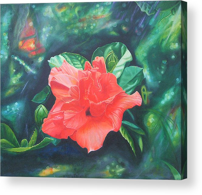 Hibiscus Acrylic Print featuring the painting Hibiscus by Leonard Aitken