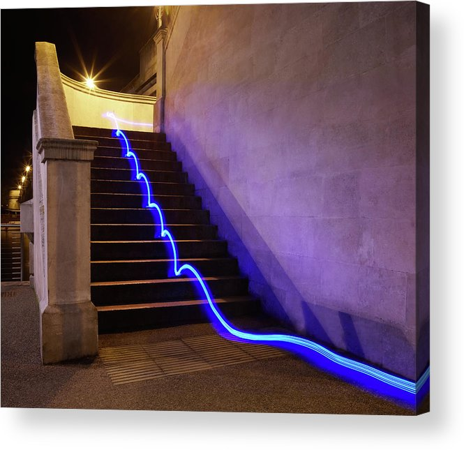 Steps Acrylic Print featuring the photograph Light Trail On Steps by Tim Robberts