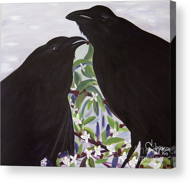 #raven #nature #wildlife #animal #treebranch #prints #painting #fineart #art #images Acrylic Print featuring the painting Ravens Song by Jacquelinemari