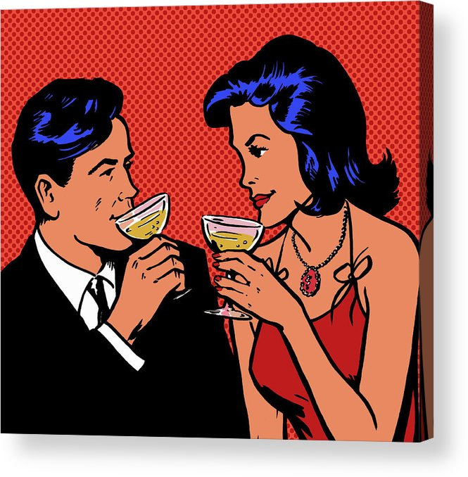 Heterosexual Couple Acrylic Print featuring the digital art Retro Couple Drinking Champagne by Jacquie Boyd