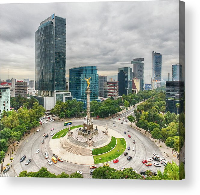 Mexico City Acrylic Print featuring the photograph The Angel Of Independence, Mexico City by Sergio Mendoza Hochmann