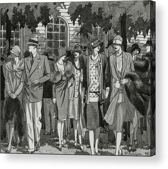 Fashion Acrylic Print featuring the digital art The Meadow Brook Club After A Polo Match by Pierre Mourgue