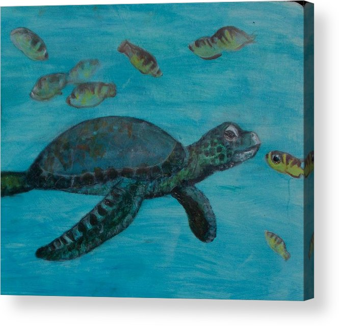 Seascapes Acrylic Print featuring the painting Under The Sea by Darla Joy Johnson