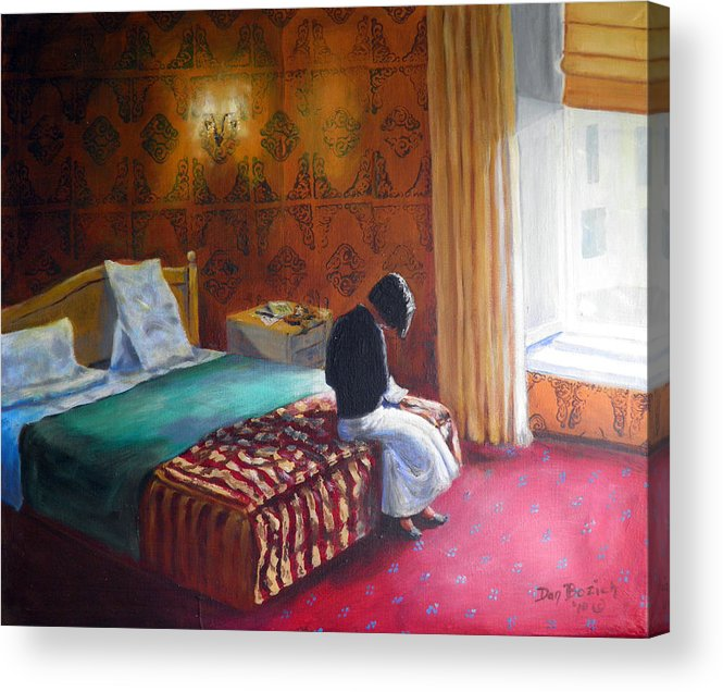 Small Hotel Room Interior Acrylic Print featuring the painting Relais dei Papi Rome by Dan Bozich