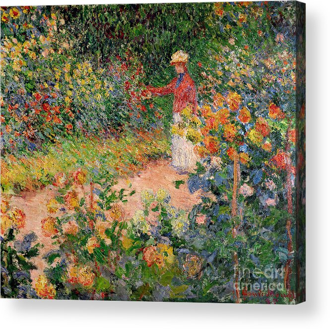 Garden Acrylic Print featuring the painting Garden at Giverny by Claude Monet