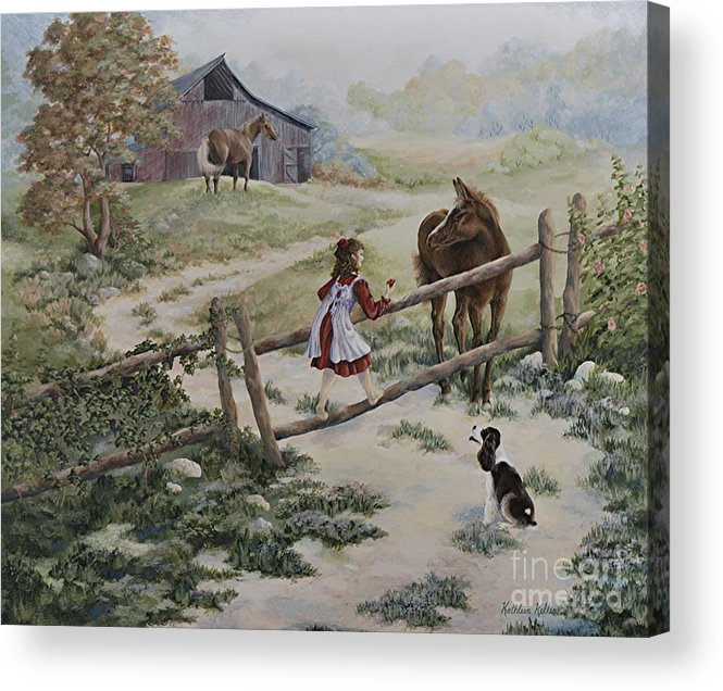 Farm Acrylic Print featuring the painting At the Farm by Kathleen Keller