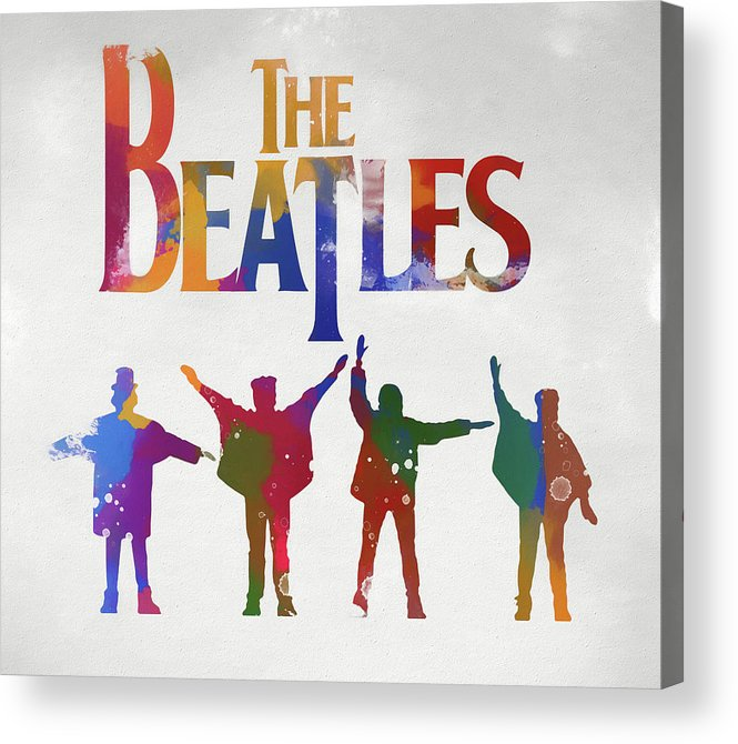 Beatles Watercolor Poster Acrylic Print featuring the painting Beatles Watercolor Poster by Dan Sproul