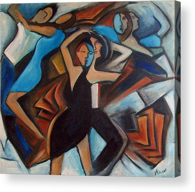 Abstract Dancers Acrylic Print featuring the painting Bleu Danse by Valerie Vescovi