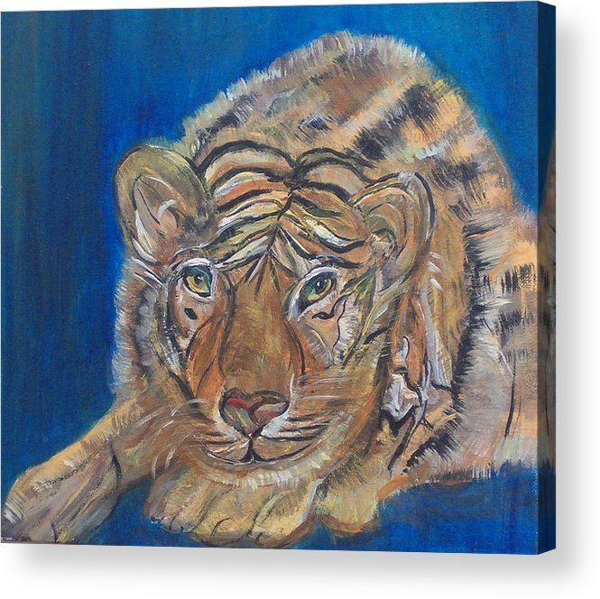 Tiger Acrylic Print featuring the painting Contented Tiger by Mikki Alhart