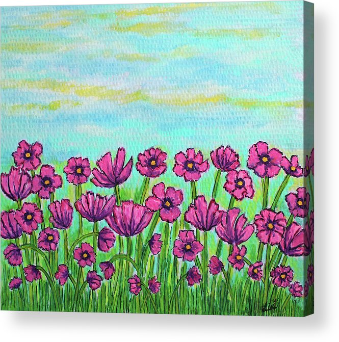 Cosmos Acrylic Print featuring the painting Crazy for Cosmos by Lisa Lorenz