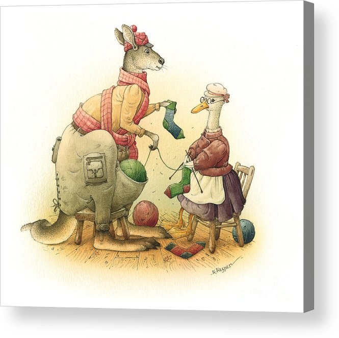 Duck Greeting Cards Kangaroo Acrylic Print featuring the painting Duck and Kangaroo by Kestutis Kasparavicius