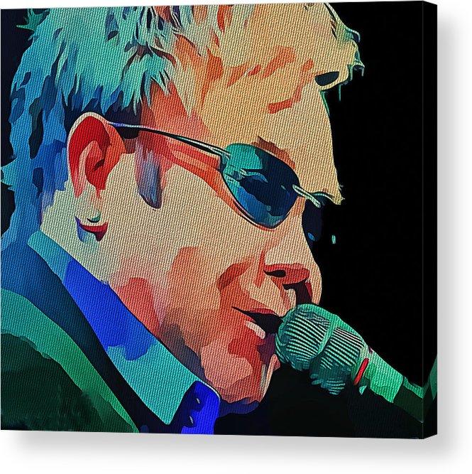 Elton Acrylic Print featuring the digital art Elton John Blue Eyes Portrait 2 by Yury Malkov