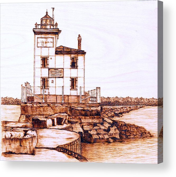 Lighthouse Acrylic Print featuring the pyrography Fair Port Harbor by Danette Smith
