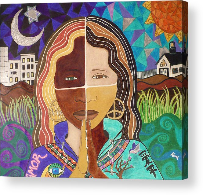 Portrait Acrylic Print featuring the painting Harmony by Alima Newton