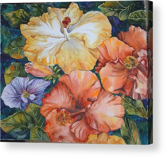Watercolor Acrylic Print featuring the painting Hibiscus by Diane Ziemski