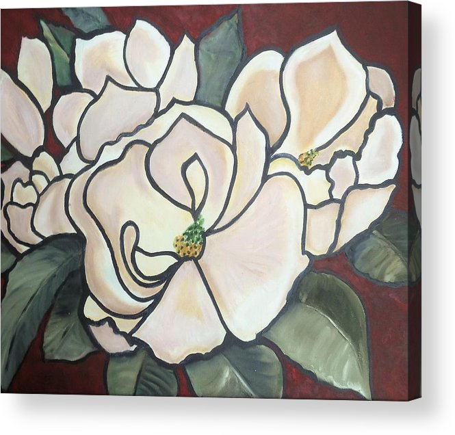 Flowers Acrylic Print featuring the painting Magnolias Under Glass by Martha Mullins