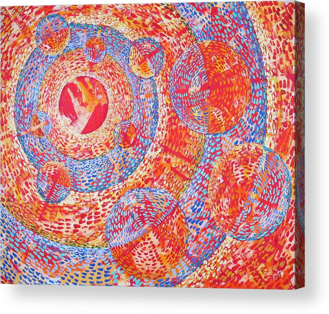 Pointillism Acrylic Print featuring the painting Microcosm XVIII by Rollin Kocsis