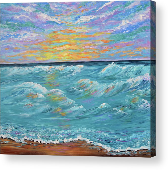 Ocean Sunrise- Seascape Painting-ocean Waves Acrylic Print By