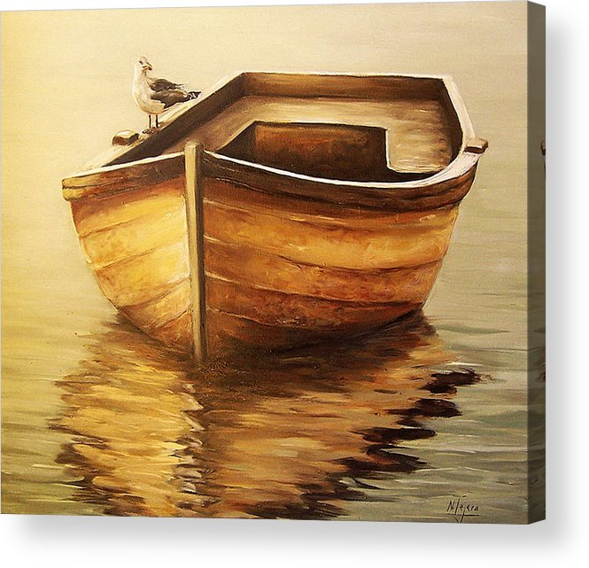 Seascape Acrylic Print featuring the painting Old Boat by Natalia Tejera