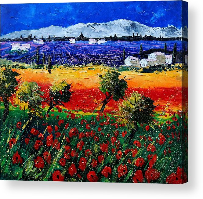 Poppy Acrylic Print featuring the painting Poppies in Provence by Pol Ledent
